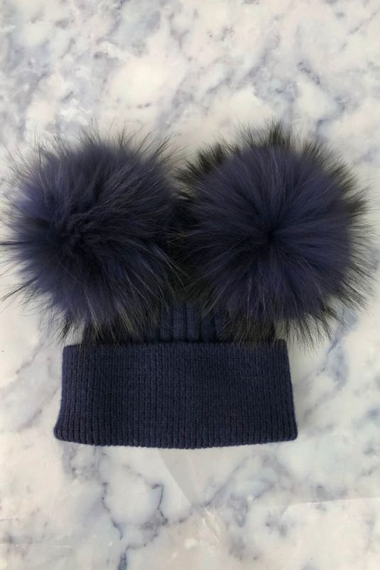 KIDS Navy with Navy Double Bobble Hat