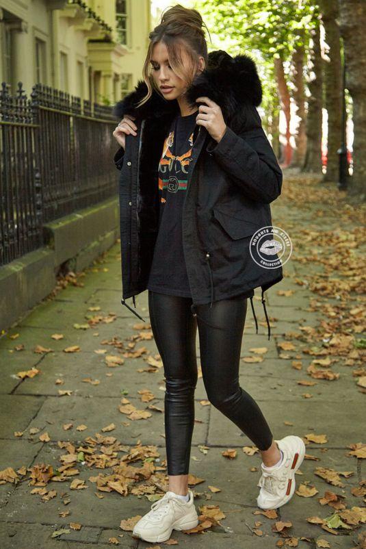 Delilah Black Parka - Black Fur