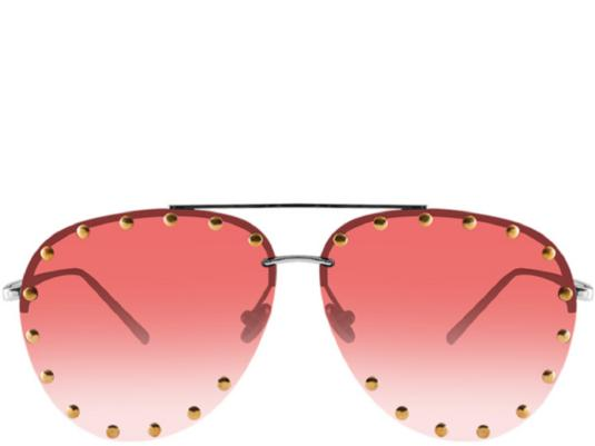 Gold Coast Red Tint Studded Oversized Aviators