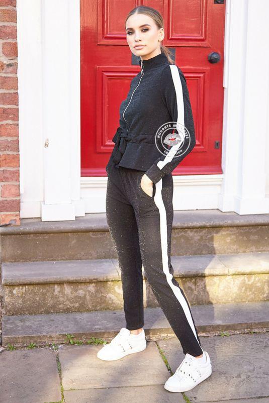 Elena Black Glitter Stripe Tracksuit