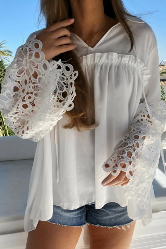 White Shirt with Crochet Sleeves