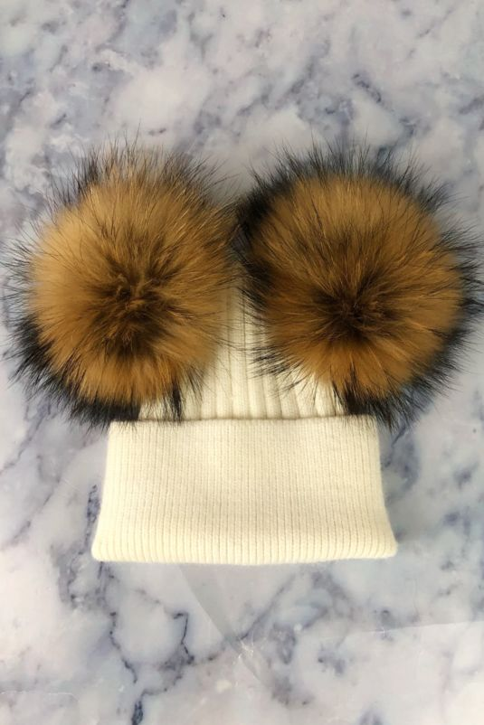 KIDS Off White with Natural Double Bobble Hat