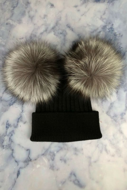 Black with Silver Fox DOUBLE Bobble Hat 3ced1df9401