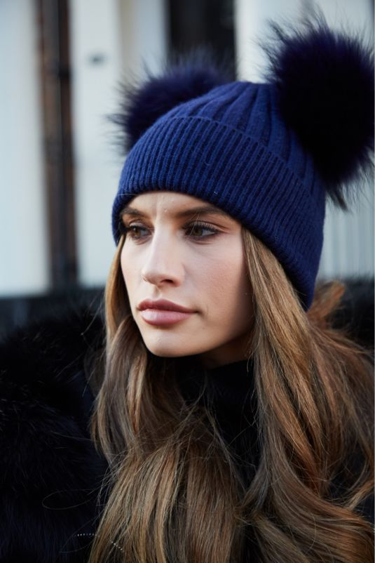 Navy DOUBLE Bobble Hat