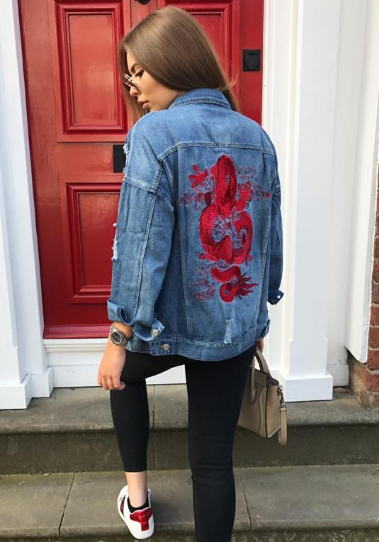 Blue Denim Dragon Embroidered Jacket