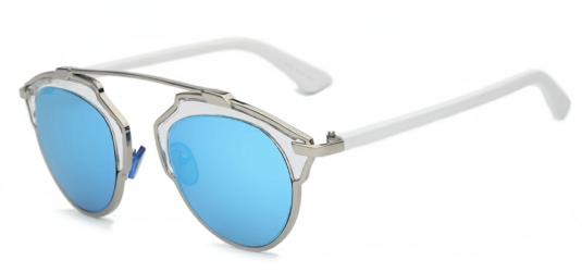 Bali Retro Round Ice Blue Sunglasses