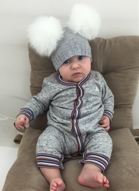Baby DOUBLE Bobble Hat - Grey