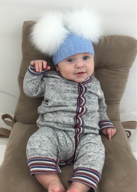 Baby Blue DOUBLE Bobble Hat