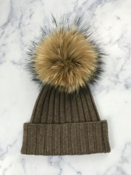 Brown Giant Fur Bobble Hat