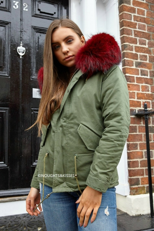 Kahki Parka With Giant Red Fur