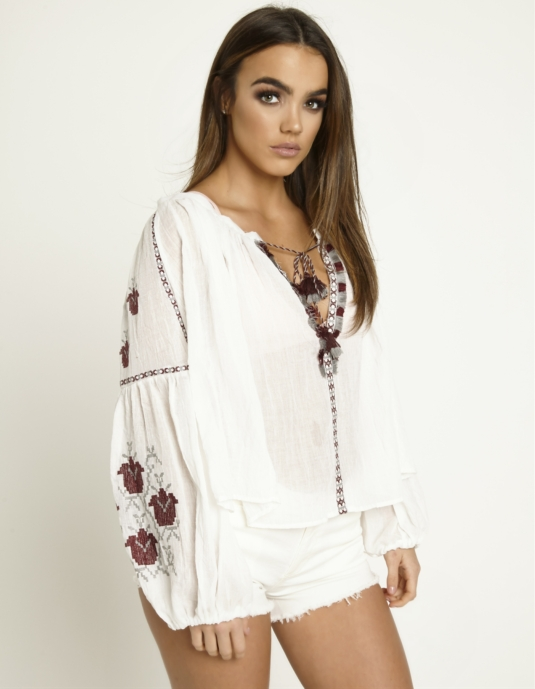 Embroidered White Oversized Top