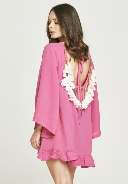 Backless Tassel Dress - Pink & White