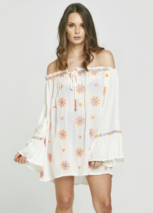 Neon Embroidered White Off The Shoulder Dress