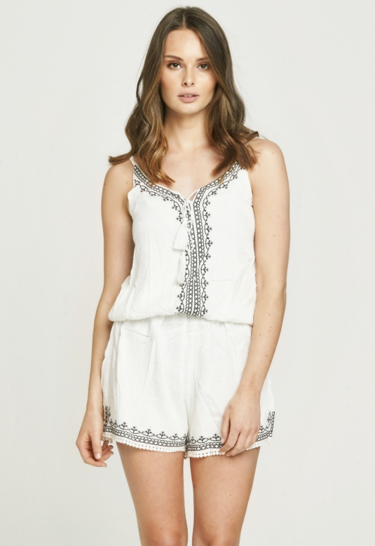 Balck Embroidered White Playsuit