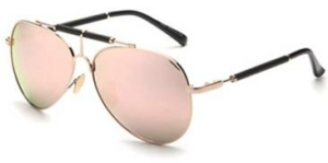**JEMM** Beachwear  Leather Bar Rose Gold Aviators