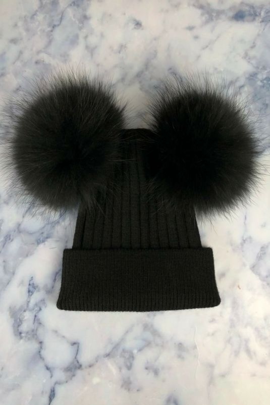 All Black DOUBLE Bobble Hat. 81bfe04a38db