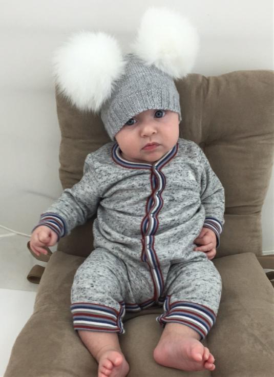 Baby DOUBLE Bobble Hat - Grey c7997c7bc00